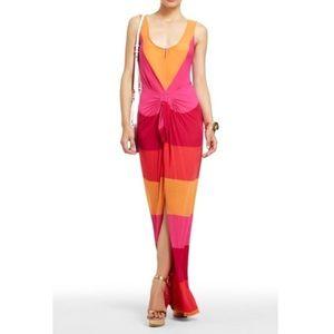 BCBG Max Azria Marlie Maxi Color Block Tie Dress